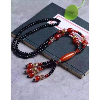 爆款来袭- 黑玛瑙搭配红玛瑙毛衣链 纯手工编制 搭配红玛瑙长桶珠坠子