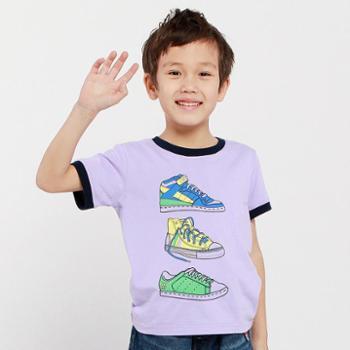 帕菲帕贝儿童T恤 夏装2014新款中大童装运动纯棉印花男童短袖T恤
