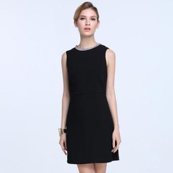 拉夏贝尔女式领口珠片上衣连衣裙夏季潮款裙子GF12120003