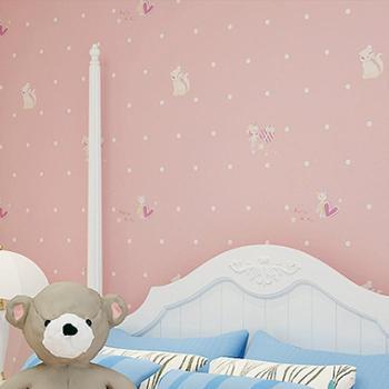 蒙塔果无纺布现代简约儿童房粉色小女孩卧室客厅背景墙满铺墙纸