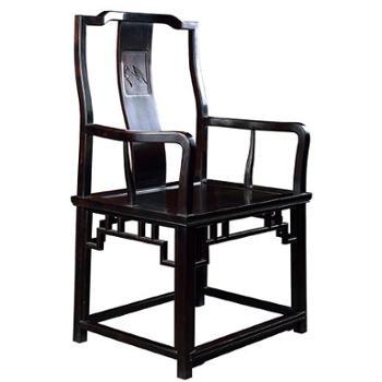 滑氏红木东非黑黄檀明式南官帽椅三件套