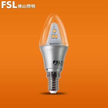 FSL佛山照明小螺口E14超炫C35尖明全柱LED尖泡灯LED节能灯泡LED灯泡经济光源3W
