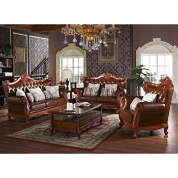 欧式古典进口头层黄牛皮纯手工繁复雕花真皮沙发套装(1+2+3)真皮沙发头层牛皮转角客厅皮沙发组合时尚简约小户型皮沙发