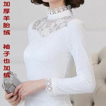 秋冬新款女装蕾丝衫加绒加厚高领打底衫女士长袖t恤短款保暖上衣