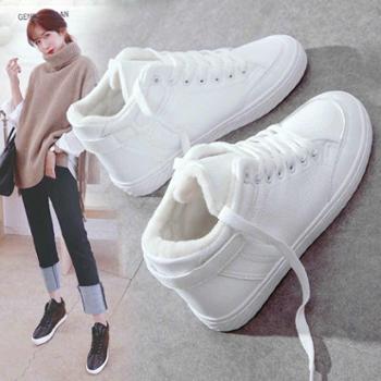 韩版百搭小白鞋女秋冬季加绒高帮棉鞋白鞋子女鞋新款板鞋