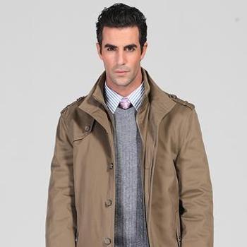 拜邦2014时尚简约单排扣拉链休闲商务经典立领羊毛大衣