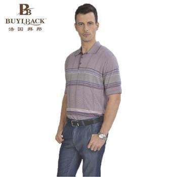 法国拜邦 男士商务休闲时尚横条透气棉料短袖T恤 TB05-205 50