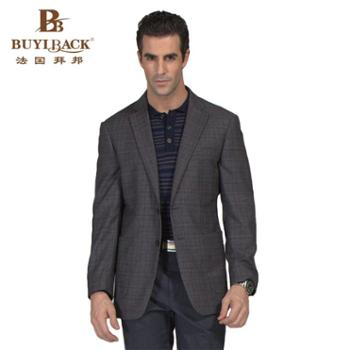法国拜邦新款春装高档休闲商务西服外套深灰红细格羊毛外套单西服西装CA22-849