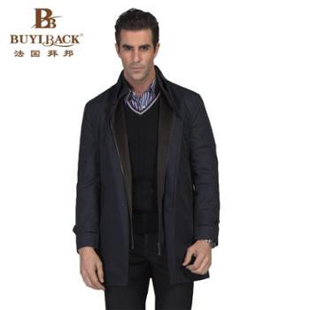 拜邦高档休闲纯色简约商务绅士经典立领大衣外套KA10-K24