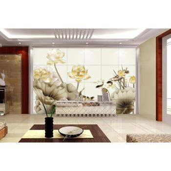 兰田电视背景墙瓷砖壁画 复古大气花色背景墙面