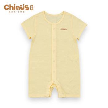 雀氏婴幼儿竹纤维衣服夏季连体衣男女宝宝短袖哈衣爬服薄款