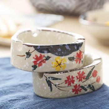 佰润居雪花釉陶瓷烟灰缸创意个性手绘日式风格摆件1只