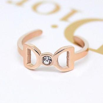 韩版时尚百搭双D戒指 女 开口可调节来