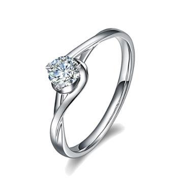 裕景珠宝 PT950铂金钻石爱心爪女戒 花缠绕结婚戒指求婚饰品礼物