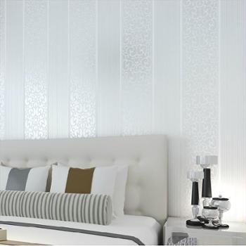 欧式竖条花纹环保无纺布壁纸卧室客厅电视背景墙满铺墙纸