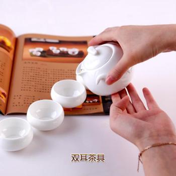 艾米丽骨瓷茶具套装 家用创意中式5头双耳茶壶配4茶杯
