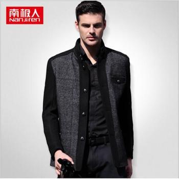 南极人男装外套中年男士羊毛夹克立领休闲修身保暖品牌男式夹克13513