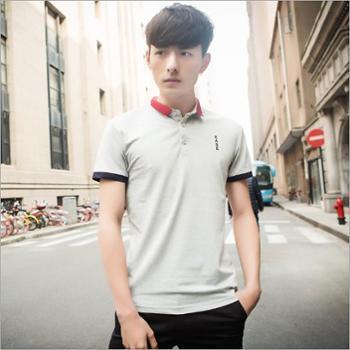 绅男格调纯色夏季男士短袖POLO衫15666