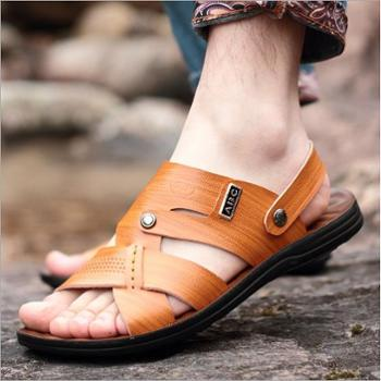 南翔 夏季新款男士男鞋沙滩鞋露趾凉鞋皮凉拖鞋超纤皮6608
