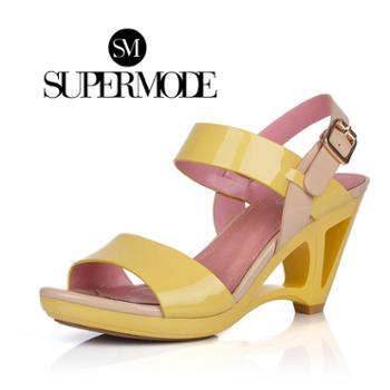 supermode 漆皮时尚撞色镂空异形坡跟女凉鞋