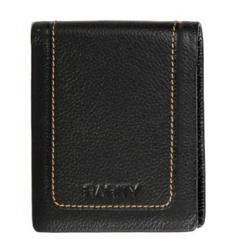 诺瑞德男款欧式头层牛皮短款钱包商务休闲黑色真皮票