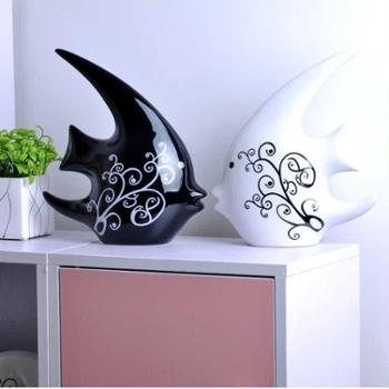 包邮 现代家居装饰品摆件 时尚陶瓷工艺品摆设品 抽象黑白亲嘴鱼