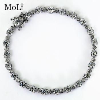 MOLI魔力高仿真钻石手链女士款 韩版银镀白金首饰珠宝饰品手镯