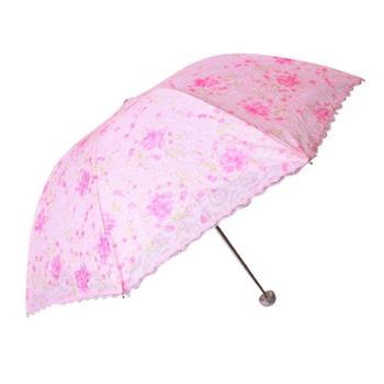 天堂伞 春光明媚碰击布刺绣双层防紫外线三折超轻晴雨伞 3101E