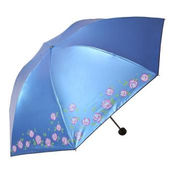天堂伞 那时花开黑涤彩胶防紫外线三折钢杆钢骨晴雨伞 33110E