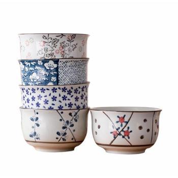 小饼家日式餐具碗套装景德镇陶瓷器日式和风碗套装5碗