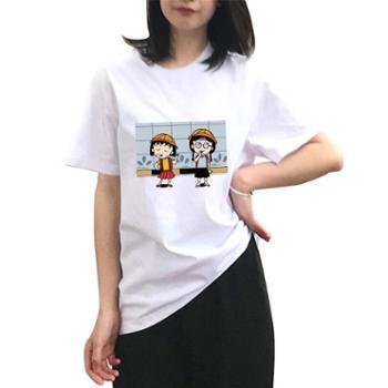 安柘娜卡通小丸子三只小猪动漫二次元百搭纯棉T恤