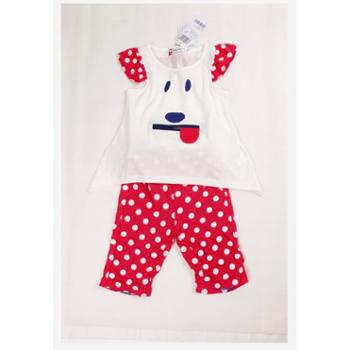 夏装新款史努比童装正品2ss41050女童卡通圆点短袖套装莫代尔