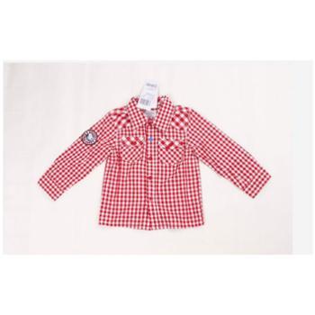 春装史努比童装正品2AS40301宝宝中性小格红色长袖衬衫