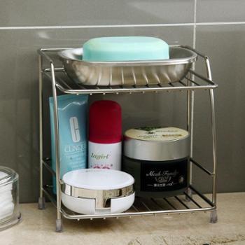 欧润哲不锈钢迷你浴室小置物架桌面双层收纳架/整理架/杂物架