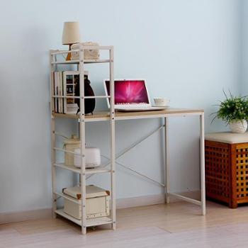 欧润哲橡木色连书架组合电脑桌多功能卧室置物架收纳架