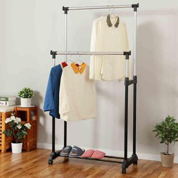 欧润哲 阳台伸缩晾衣架 落地折叠双杆室内外挂衣架 可移晒被架