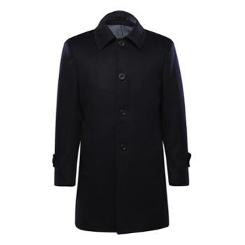【高端定制】BONO男装羊绒大衣男士中长款修身羊毛呢子风衣潮外套
