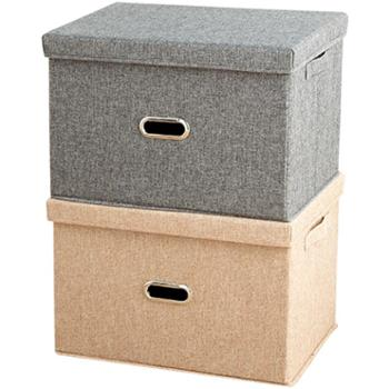 艾多 中号布艺可折叠棉麻有盖收纳整理箱 1只装