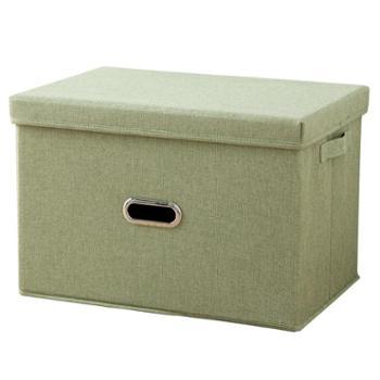 艾多 加大号布艺可折叠有盖衣服整理收纳箱 1只装