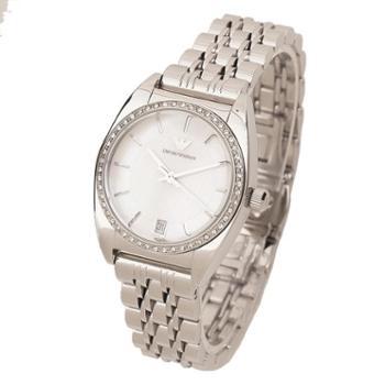阿玛尼珍珠贝母白色文雅不锈精钢带镶钻优雅防水女表AR0379