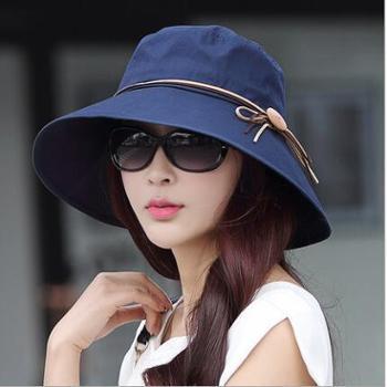 圆伦 帽子女夏天韩版潮 木扣可折叠遮阳帽 防紫外线大沿防晒帽大沿帽