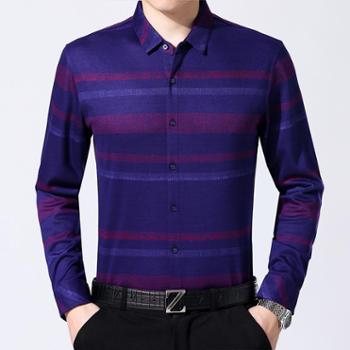 2017秋季新款男士衬衫中年休闲男式条纹翻领宽松羊绒长袖衬衣