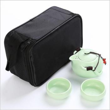 【新品包邮】联纵 旅行茶具套装定窑功夫陶瓷亚光釉一壶两杯