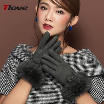 Tlove手套女冬可爱韩版兔毛口分指手套加绒保暖麂皮绒手套学生触屏手套6625