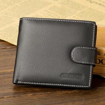 baellerry男士钱包牛皮短款复古拉链搭扣钱夹新款皮夹