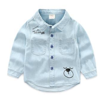 童装儿童长袖牛仔衬衫春秋新款男童宝宝柔软卡通薄外