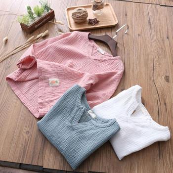 2018春季新款棉麻文艺童装纯色中小童长袖T恤韩版儿童棉麻打底衫