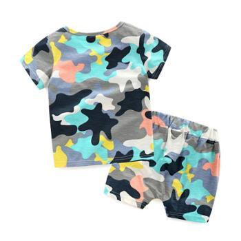 宝宝迷彩套装儿童韩版弹力两件套夏季童装新款男童t恤短裤