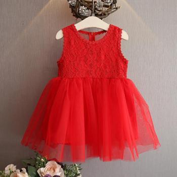 夏装新款韩版蕾丝拼接女童连衣裙背心裙