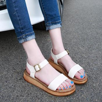 夏季女学生松糕平底大码女鞋潮罗马女士凉鞋厚底